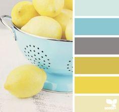 lemony hues palette from Design Seeds Design Seeds, Colour Schemes, Color Combos, Colour Palettes, Color Palette Gray, Paint Schemes, Color Trends, Kitchen Colors, Kitchen Yellow