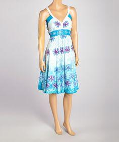 Look at this #zulilyfind! Turquoise & Purple Floral Sleeveless V-Neck Dress - Women by California Women #zulilyfinds