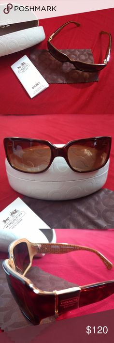 Coach Delphine Sunglasses in Tortoise Product Details: - Coach logo on the sides.  - 100% UV Protection - A Protective White color Coach case - Like New. Only used Once and in perfect condition. Coach Accessories Sunglasses