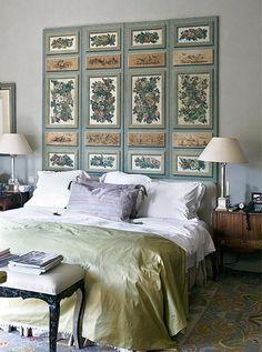 6. The Folding Screen  If you're in need of a pièce de résistance, placea traditional folding screen behind your headboard. The more intricate the design, the more it willdraw the eye, creating an out-of-the-ordinary focal point for your room.