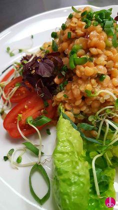 Linsen Lauch Salat mit Cherry-Senf-Vinaigrette