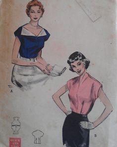 Vintage 50s Bateau Turnback Slit Collar от VtgFashionLibrary