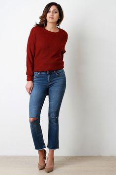 Razor Cut Knee Frayed Hem Bell Bottom Jeans – Style Lavish