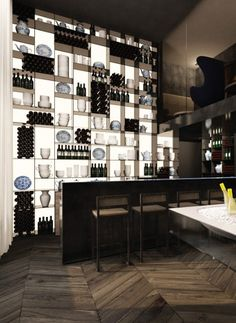 bar shelving and floor.........................bar, Conservatorium Hotel by Piero Lissoni