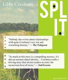 Proud to be #Gooselane with rave reviews for Libby Creelman's Split. For more reviews check out gooselane.com