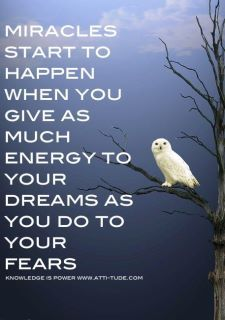 """Miracles start to happen when you give as much energy to your dreams as you do to your fears."""