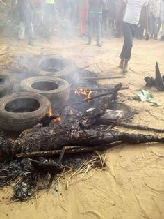Angry Mob Burnt Suspected Armed Robbers To Ashes In Akwa Ibom (Graphic Pics) - Brainnews Radio Number Two, Burns, News, Outdoor Decor