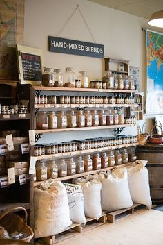 This is oakland store front spice shop, coffee shop design o Design Shop, Coffee Shop Design, Cafe Design, Interior Design, Design Design, Cafe Shop, Cafe Bar, Deco Cafe, Bulk Store