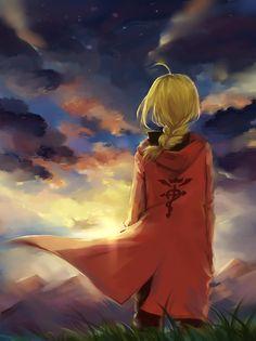 Pixiv Id 4692680, Fullmetal Alchemist, Edward Elric, Flowing Hair, Mountains, Wind