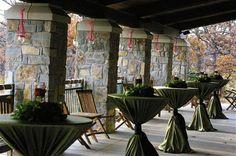 Bistro Tables on Back Porch of Conference Center #WeddingVenue #Wedding #LoughridgeWeddings
