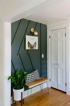 Wall lighting DIY – An Entryway Makeover Features a Modern DIY Accent Wall… - Home Accentss Decoration Hall, Hallway Decorations, Green Decoration, Christmas Decorations, Modern Entryway, Entryway Ideas, Entrance Ideas, Small Entrance, Entrance Halls