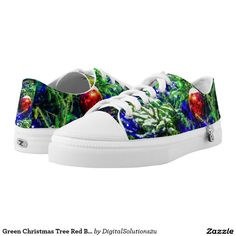 Green Christmas Tree Red Ball Printed Shoes