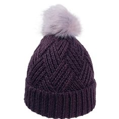 d88ee06d0da WPOM-FUR8     Cross Hatch Beanie With Faux Fur Pom