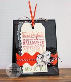 Reverse Confetti ghost Halloween card