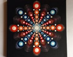 Original Red Mandala Painting on Canvas Painting Office and