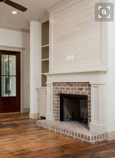 35 Gorgeous Natural Brick Fireplace Ideas (Part – Farmhouse Fireplace Mantels Red Brick Fireplaces, Farmhouse Fireplace Mantels, Linear Fireplace, Brick Fireplace Makeover, Shiplap Fireplace, Fireplace Hearth, Home Fireplace, Living Room With Fireplace, Fireplace Design