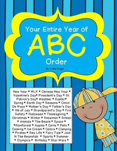 ABC Order for the WHOLE entire school year of Holidays and Themes! My students LOVE these. On holidays they are cranked to high heaven. Why? Because holidays are so dang fun! These pages review key holiday & thematic vocabulary while giving the little angels something exciting to focus on other than visions of trick or treating or sugared plumbs dancing in their heads! Happy Holidays everyone! There is even a page in here on weather for rainy day schedule!