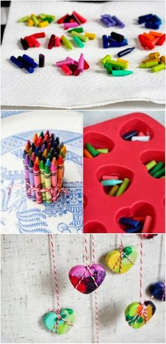 DIY Crayon Hearts. Just a little something to keep in mind for the kiddos Valentine's Day card/gift swap!
