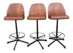 Cosco Mid-Century Swivel Bar Stools - Set of 3 on Chairish.com