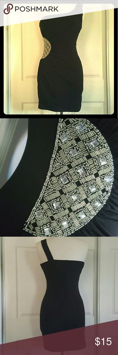 Single Strapped Little Black Dress Size Medium Brand: City Triangles  Size: Medium  Perfect little black dress! Single strap  Adorable sparkly beaded design to make the dress pop! Excellent condition City Triangles Dresses One Shoulder