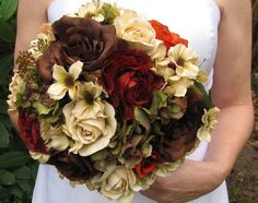 TN Country Rustic wedding Round Ivory real touch cream roses, brown roses, burgandy roses, green hydrangeas, red roses Bridal Bouquet, hand tied with ivory ribbon.