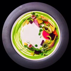 Vegetables - Beets, zucchini, yellow squash, pea tendrils, sweet pea sauce.