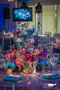 Bat Mitzvah Centerpieces, Blue & Purple Flowers, New York {The Event of a Lifetime} - mazelmoments.com