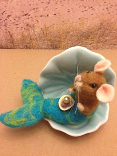 Maria mermouse needle felted mouse mermaid by weewooleybeasties
