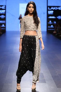 PAYAL SINGHAL  Dove Grey Pearl work Crop Top with Black and Dove Grey Scalloped Pants available only at Pernia's Pop Up Shop.