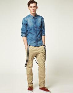 Pantalon chino à bretelles pour homme