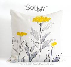 Floral original design in yellow and grey by SenayStudio on Etsy Fabric Painting, Fabric Art, Fabric Crafts, Painting Flowers, Monogram Painting, Cute Cushions, Pillow Design, Floral Watercolor, Fabric Flowers