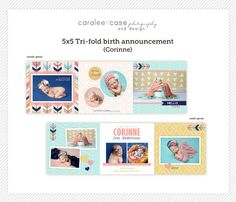 5x5 Trifold Birth Announcement Template by Caralee Case Photography. Cards. Templates. Colorful. #caraleecasephotography #template #birthannouncements #cards #designs #newbornpictures