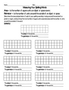 An activity to reinforce area and perimeter using spelling words....