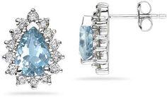 Pear Shaped Blue Topaz and Diamond Flower Earrings in White Gold Tanzanite Earrings, Diamond Hoop Earrings, Flower Earrings, Gemstone Earrings, Stud Earrings, Blue Topaz Diamond, Amethyst Gemstone, Peridot, Sapphire