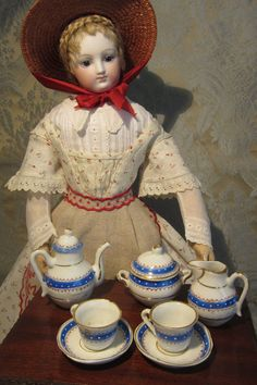 Antique Miniature French Porcelain Tea Set