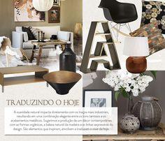 Casa contemporânea, móveis de madeira e decoração.