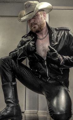 Hot Country Boys, Mens Leather Pants, Hairy Chest, Cowboys, Biker, Tights, Pure Products, Sexy, Daddy