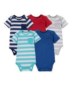 Blue & Red Stripe Pocket Bodysuit Set - Infant #zulily #zulilyfinds