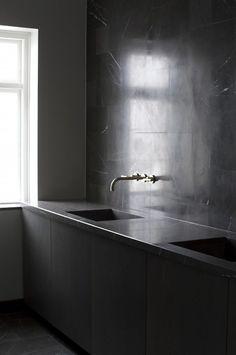 Kitchen Space Copenhagen,modern design,interior design, bath vanity marble wall.