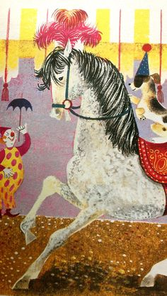 Vintage Poster Clown Pony Horse Puppy Leonard Weisgard Print Circus
