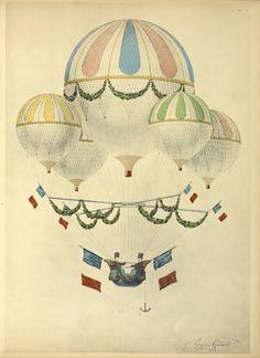 Flotille aérostatique d'Eugène Godard. Dessin aquarellé d'Eugène Godard. From New York Public Library Digital Collections.