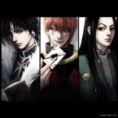 Hunter x Hunter, Hisoka, Kuroro or Chrollo and Illumi Anime Boys, Manga Anime, Cute Anime Guys, Anime Art, Hunter Anime, Hunter X Hunter, Hisoka, Hunter Spider, Hxh Characters