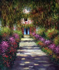 """""""Garden Path at Giverny"""" by Claude Monet placed 2nd on overstockArt.com's 2014 Top 10 List. Hand painted reproductions are available in a variety of sizes at overstockArt.com. #art"""