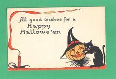Vintage Gibson Art Halloween Postcard Happy JOL Scarecrow Black Cat Candle | eBay