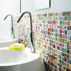 Ecosia - the search engine that plants trees Bathroom Design Layout, Bathroom Colors, Colorful Bathroom, Ideas 2017, Toilet Accessories, Bathroom Kids, Washroom, Home Interior, Wall Tiles