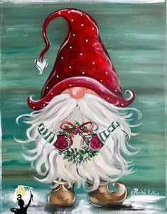 Christmas Rock, Christmas Gnome, Christmas Projects, Christmas Paintings On Canvas, Christmas Canvas, Deco Table Noel, Christmas Drawing, Christmas Decorations, Christmas Ornaments