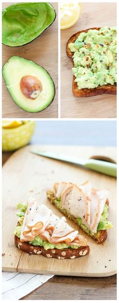 Turkey and Avocado Toast Easy and quick ways to top an avocado toast all with fresh ingredients for breakfast, lunch, or dinner! Easy and quick ways to top an avocado toast all with fresh ingredients for breakfast, lunch, or dinner! Healthy Dinner Recipes, Healthy Snacks, Breakfast Recipes, Healthy Eating, Cooking Recipes, Breakfast Healthy, Breakfast Ideas, Breakfast Toast, Vegan Meals
