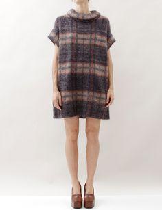 United Bamboo Plaid Knit Dress- Brown/coal