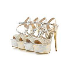 Sandálias ( Prateado/Dourado ) - MULHERES Saltos Altos/Peep Toe - Salto Alto - Courino – BRL R$ 205,17