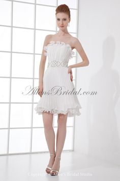 Chiffon Strapless Column Short Crystals Cocktail Dress on sale at affordable prices, buy Chiffon Strapless Column Short Crystals Cocktail Dress at AllensBridal.com now!